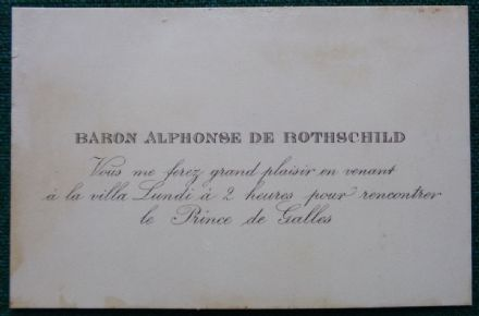 Baron Alphonse de Rothschild Invitation to Meet King Edward VII Cannes 1890s